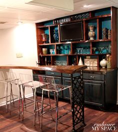 Embrace My Space: Live Edge Bar - love the raw wood of the bar and the grate as the bar leg