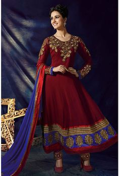 Maroon Georgette Anarkali Suit Comes With A Contrast Royal Blue Dupatta - Glowindian