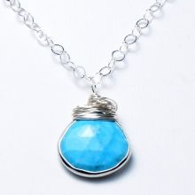 Natural Turquoise & Sterling Silver Necklace www.jewelya.com