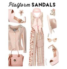 """""""Platform Sandals"""" by ragnh-mjos ❤ liked on Polyvore featuring Moschino, RED Valentino, Witchery, Bailey 44, River Island, Linda Farrow, Accessorize and Miss Selfridge"""