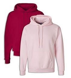 Hanes P170 Mens EcoSmart Hooded Sweatshirt XL 1 Deep Red + 1 Pale Pink - http://www.darrenblogs.com/2017/01/hanes-p170-mens-ecosmart-hooded-sweatshirt-xl-1-deep-red-1-pale-pink/