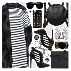 """B&W stripes dress"" by pastelneon ❤ liked on Polyvore featuring Zara, FREDS at Barneys New York, Monki, Artecnica, Mela Artisans, Merkury Innovations, women's clothing, women, female and woman"