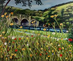 Wild flowers in Ballincollilg Regional Park.  Something slightly different! This is a scene from the Regional Part last summer.  There were beautiful wild flowers planted near the bridge. I love the mixture of all the different colours from the mix of flowers.   #helencodonart  #irishart #irishartist #landscape #acrylicpainting #ireland #hellocork #cork #corkcity #Ballincollig #BallincolligRegionalPark #wildflowerpainting #wildflowers #flowerpainting