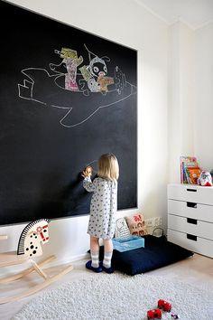Barnens rum - väggar. Griffeltavlefärg som fondvägg? Kanske kritdammigt men kreativt och kul.