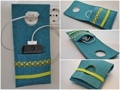 Charging station and cable bag for mobile ♥ happ. Charging station and cable bag for mobile ♥ happy – Cicek Yildiz – Felt Crafts, Diy And Crafts, Sewing Crafts, Sewing Projects, Little Gifts, Diy Gifts, Sewing Patterns, Pouch, Knitting