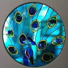 Peacock~Stained glass window by Simply Stained Glass Stained Glass Birds, Faux Stained Glass, Stained Glass Designs, Stained Glass Panels, Stained Glass Projects, Stained Glass Patterns, Leaded Glass, Mosaic Glass, Glass Painting Designs