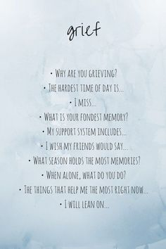 Grief Journaling Prompts. Jot down your answers to these questions in your journal. This can be a helpful & therapeutic exercise.