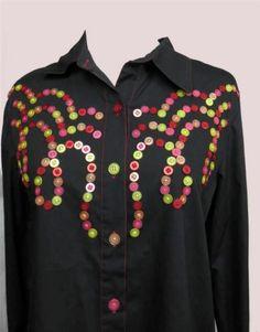 Bob Mackie Blouse New Black Western Cowgirl Theme Button Design Size Small | eBay