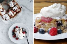 This French Toast Bake Is Filled With Berries And Possibly Magic. The perfect lazy Sunday breakfast to make with friends or family. Sunday Breakfast, Breakfast Bake, Breakfast Dishes, Breakfast Recipes, Dessert Recipes, Breakfast Ideas, Yummy Treats, Delicious Desserts, Yummy Food