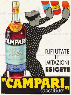 """Campari"", l'aperitivo - 1934 - (Louis Koller) - Vintage Italian Posters, Vintage Advertising Posters, Poster Vintage, Vintage Advertisements, Print Advertising, Advertising Campaign, Vintage Italy, Vintage Wine, Vintage Labels"