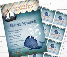 Whale Baby Shower Invitation and Gift Bag Tags by achessmoredesign, $20.00