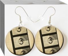 Are you a film student or a movie buff, then you'll love these retro Film Strip countdown #Button Charm Jewelry Earrings