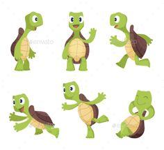 Cartoon Characters of Turtles Funny cartoon characters of turtles in various poses. Turtle happy animal, torto #Cartoon, #Characters, #Turtles