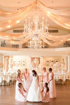 Black Tie wedding with Blush Bridesmaid Dresses at the gorgeous Country Club of Virginia!