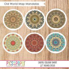 """Old World Map Mandalas 1.5\"""" Circle Collage Sheet"""