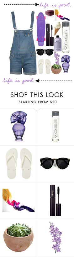 """""""Purple salopette outfit//Ariana"""" by daily-tips-and-icons ❤ liked on Polyvore featuring BCBGMAXAZRIA, Penny, Havaianas, INIKA and Laura Cole"""
