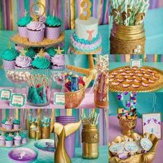 Little Mermaid Birthday, Little Mermaid Parties, 3rd Birthday Parties, Baby Birthday, Birthday Ideas, Birthday Balloons, Sirenita Cake, Mermaid Baby Showers, Under The Sea Party