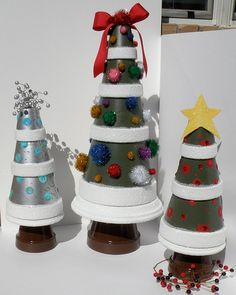 Christmas Trees made from Terra Cotta pots