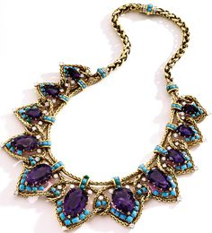 18 Karat Gold, Platinum, Amethyst, Turquoise and Diamond Necklace by Cartier