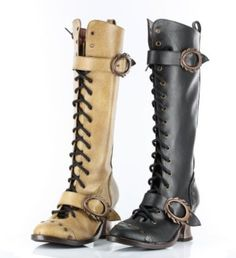 Amazon.com: VINTAGE GOTHIC STEAMPUNK LOW HEEL KNEE HIGH MILITARY BOOTS: Shoes