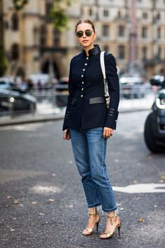 navy jacket, jeans & gold sandals
