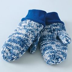 Easy knit mittens; you can make the cuffs by recycling from sweatshirts.