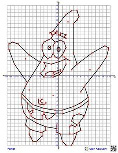 Patrick from SpongeBob Squarepants Coordinate Graphing Picture Coordinate Planes, Cartesian Coordinates, Graph Paper Drawings, Spongebob Patrick, Graphing Activities, Math Projects, Math Notebooks, Teaching Aids, Patrick Star