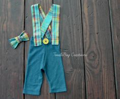 Newborn Photography Pants  Upcycled Blue Plaid Suspenders & Matching Plaid Bow Tie  by ToodleBugCreations, $26.50