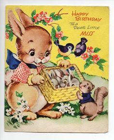 Vintage Greeting Card (38) - HAPPY BIRTHDAY TO A DEAR LITTLE MISS - POLLYANNA