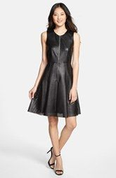 Calvin Klein Perforated Faux Leather Fit & Flare Dress