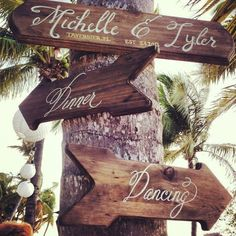 This would be good to have something like this when people walk into the Surf Club. One way canapes and drinks and the other dinner. Beach rustic wedding sign love