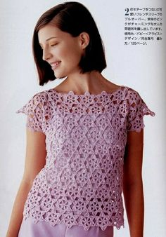 Irish lace, crochet, crochet patterns, clothing and decorations for the house, crocheted. Irish Crochet, Knit Crochet, Crochet Tops, Crochet Woman, Irish Lace, Crochet Fashion, Hobbies And Crafts, Crochet Clothes, Crochet Patterns