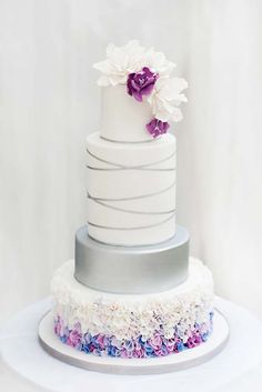 Beautiful Cake Pictures: Silver Ribbon & Colorful Ruffles Wedding Cake - Cakes with Ribbons, Cakes With Ruffles, Elegant Cakes, Wedding Cakes - Wedding Cake Decorations, Wedding Cake Designs, Wedding Cake Toppers, Pretty Wedding Cakes, Pretty Cakes, Cake Wedding, Gold Wedding, Purple Wedding, Dream Wedding