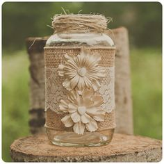 Lace and burlap wedding centerpiece. Upcycled glass jars. Vintage ivory lace. Rustic or barn wedding. $14.00