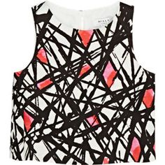 Milly Abstract-Print Satin Sleeveless Top