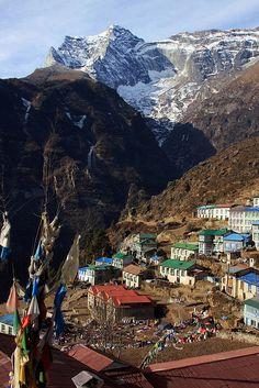 Namche Bazaar, popular among trekkers especially for altitude acclimatization in Khumbu region, Nepal (by stevefhobbs). - http://visitheworld.tumblr.com/post/33952973942/namche-bazaar-popular-among-trekkers-especially