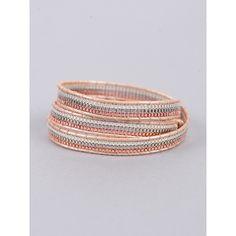 Nakamol Three Stranded Wrap Bracelet ($35) ❤ liked on Polyvore featuring jewelry, bracelets, rosegold, nakamol bracelet, rose gold wrap bracelet, nakamol, rose gold jewelry and metallic jewelry