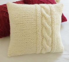 Decorative chunky cream knit throw pillow by Adorablewares on Etsy, $49.00