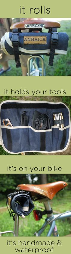 Waxed Canvas Anhaica Tool Roll -- get it @Nymb.co - bikes & handmade things!    http://nymb.co - I have this, use it, and love it!