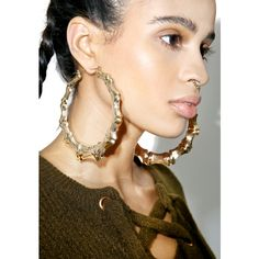 Gold Bamboo Oversize Hoop Earrings 15 Liked On Polyvore Featuring Jewelry