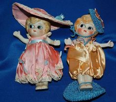 """Vintage 1920's """"Betty Boop"""" Japan Hand Painted Bisque 6"""" Dolls"""