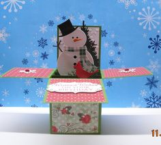 Snowman Card in a Box. Just an image but a little bit of inspiration Card In A Box, Pop Up Box Cards, 3d Cards, Card Boxes, Boxed Christmas Cards, Xmas Cards, Holiday Cards, Fancy Fold Cards, Folded Cards