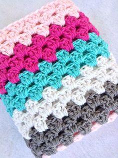 Crochet striped baby blanket or lap afghan in pink by designbyAW