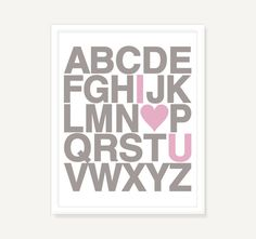 Love Heart Alphabet Poster - Personalized Nursery Baby Decor Kids Wall Art - Pink Taupe Typography Poster - 11x14 Giclee. $21.00, via Etsy.