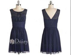Navy lace bridesmaid dress