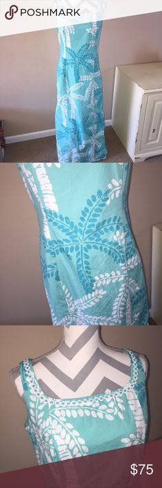 Lilly Pulitzer long maxi dress size 12 palm trees Lilly Pulitzer long maxi dress size 12. Has palm trees on it. Zips up back. Scallops at neck. Worn once Lilly Pulitzer Dresses Maxi