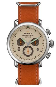 Shinola 'The Runwell Contrast Chrono' Leather Strap Watch, 41mm | Nordstrom