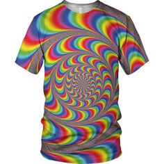 All Over 3D Print Spiral Illusion Fashion Mens And Ladies T Shirt