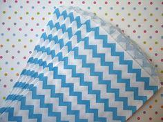 Mid Sized Paper Favor Bags  Aqua Chevron Treat by CakesAndKidsToo, $3.25