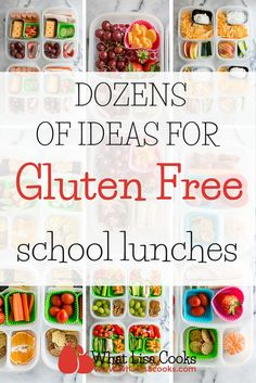 Dozens of great ideas for nut free school lunch packing. If you are running out of ideas for sending lunch to your nut free school - look no further. WhatLisaCooks has you covered with dozens of her super easy lunch ideas. Gluten Free Recipes For Kids, Gluten Free Diet, Foods With Gluten, Sans Gluten, Gluten Free Lunch Ideas, Lactose Free, Cold Lunches, Lunch Snacks, Lunch Box